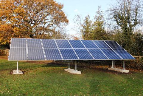 solar panel in backyard