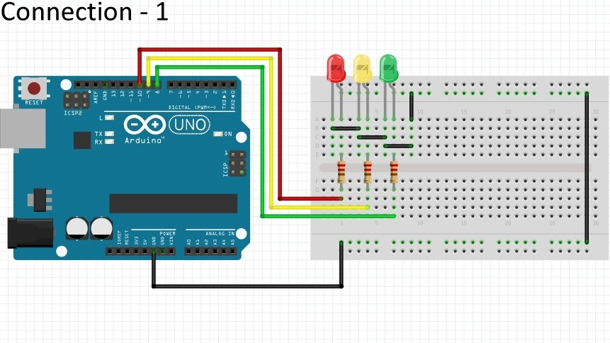 Circuit diagram for traffic lights arduino