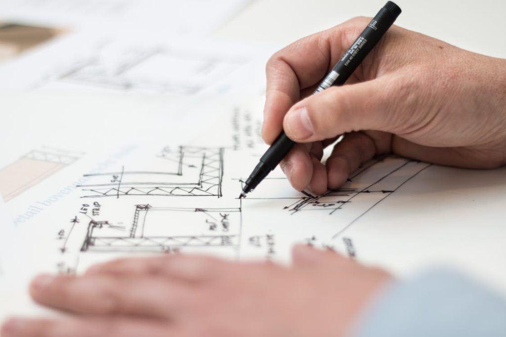 Engineer is drawing